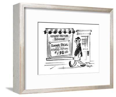 A man walks by a bookstore with a sign in the window. - New Yorker Cartoon-Lee Lorenz-Framed Premium Giclee Print