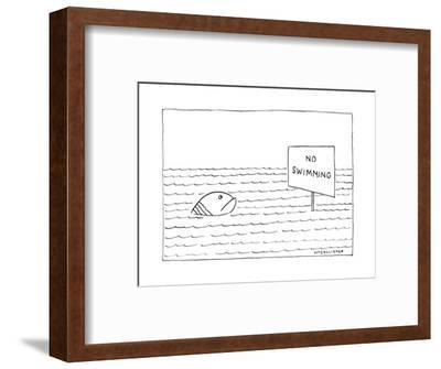"""A large, unhappy-looking fish in a large body of rippling water gazes at a?"""" - New Yorker Cartoon-Richard McCallister-Framed Premium Giclee Print"""