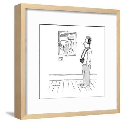 Man looking at Munch's scream with tape recorder-guide with his hair stand? - New Yorker Cartoon-Michael Crawford-Framed Premium Giclee Print