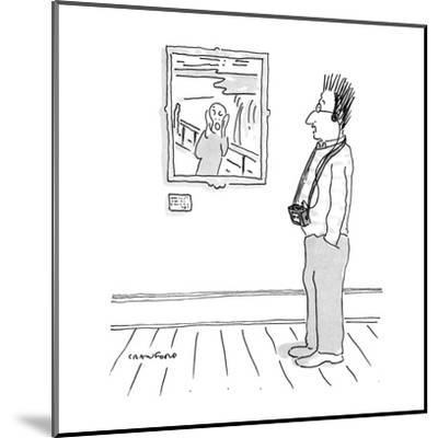 Man looking at Munch's scream with tape recorder-guide with his hair stand? - New Yorker Cartoon-Michael Crawford-Mounted Premium Giclee Print