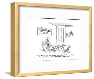 """""""Sorry, Bob, but we'll have to cancel tomorrow's lunch.  I'm summiting all?"""" - New Yorker Cartoon-Jack Ziegler-Framed Premium Giclee Print"""
