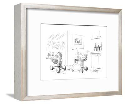 Two robots serving drinks at a party;one is taking a secretive drink in th? - New Yorker Cartoon-Donald Reilly-Framed Premium Giclee Print