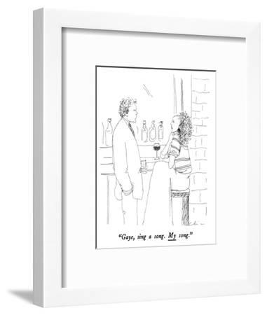 """Gaye, sing a song.  My song."" - New Yorker Cartoon-Richard Cline-Framed Premium Giclee Print"