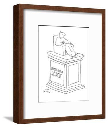 Statue of man sitting in an armchiar with beer and a cigarette with the in? - New Yorker Cartoon-Arnie Levin-Framed Premium Giclee Print
