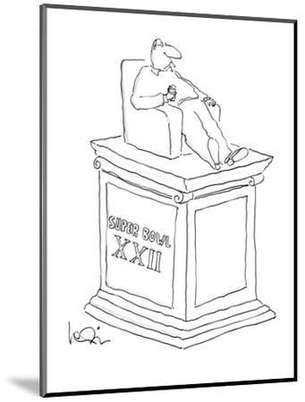Statue of man sitting in an armchiar with beer and a cigarette with the in? - New Yorker Cartoon-Arnie Levin-Mounted Premium Giclee Print