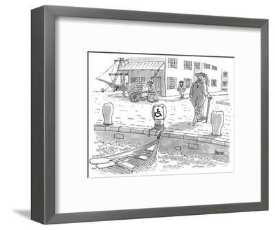 Sailor with a wooden leg, in colonial times, leaves his row boat tied up t… - New Yorker Cartoon-Jack Ziegler-Framed Premium Giclee Print