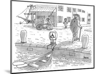 Sailor with a wooden leg, in colonial times, leaves his row boat tied up t… - New Yorker Cartoon-Jack Ziegler-Mounted Premium Giclee Print
