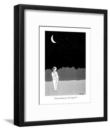 """""""Look, a shooting star?let's critique it!"""" - New Yorker Cartoon-Alex Gregory-Framed Premium Giclee Print"""