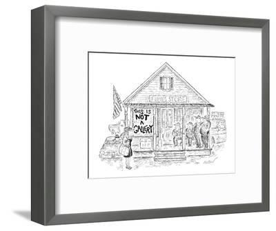 Sign on 'Floyd's Store' reads, 'This Is Not A Gallery.' - New Yorker Cartoon-Edward Koren-Framed Premium Giclee Print