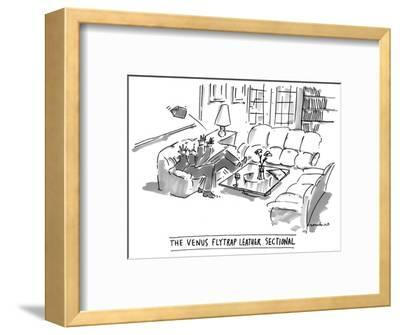The Venus Flytrap Leather Sectional - New Yorker Cartoon-Michael Crawford-Framed Premium Giclee Print