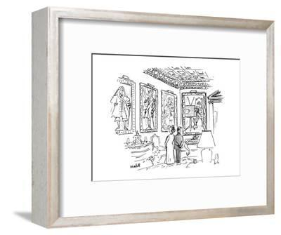 A man & a woman stand in an ornate room 13 in 18th century costume, one of? - New Yorker Cartoon-Frank Modell-Framed Premium Giclee Print