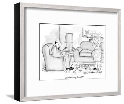 """""""Just finishing the roll?"""" - New Yorker Cartoon-Victoria Roberts-Framed Premium Giclee Print"""