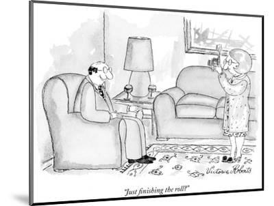 """""""Just finishing the roll?"""" - New Yorker Cartoon-Victoria Roberts-Mounted Premium Giclee Print"""