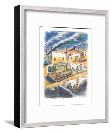 Media cameramen run behind tank with a giant camera instead of a gun. - New Yorker Cartoon-Frank Cotham-Framed Premium Giclee Print