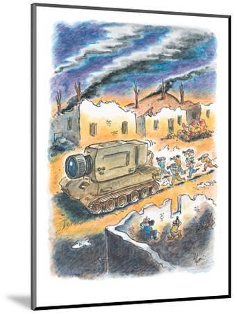 Media cameramen run behind tank with a giant camera instead of a gun. - New Yorker Cartoon-Frank Cotham-Mounted Premium Giclee Print
