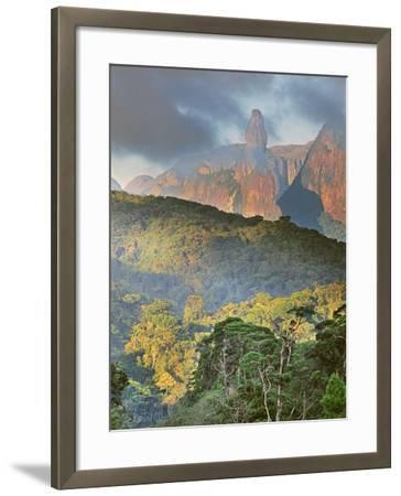 Rainforest and Granite Mountains, Serra Dos Orgaos National Park, Brazil-Frans Lanting-Framed Photographic Print