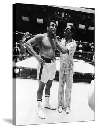 Muhammad Ali and Stevie Wonder - 1975-Isaac Sutton-Stretched Canvas Print