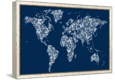 Butterflies Map of the World Map-Michael Tompsett-Framed Stretched Canvas Print