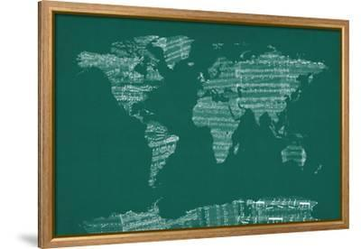 Map of the World from Old Sheet Music-Michael Tompsett-Framed Stretched Canvas Print
