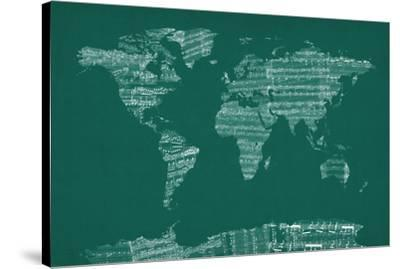 Map of the World from Old Sheet Music-Michael Tompsett-Stretched Canvas Print