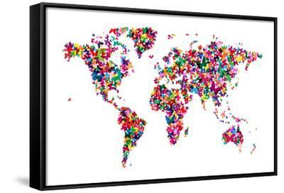 Butterflies Map of the World-Michael Tompsett-Framed Stretched Canvas Print
