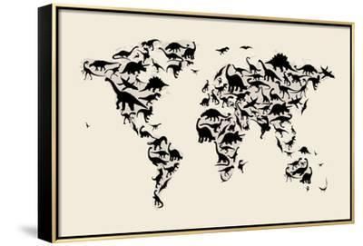 Dinosaur Map of the World Map-Michael Tompsett-Framed Stretched Canvas Print