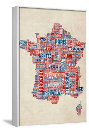 Typography Text Map of France Map-Michael Tompsett-Framed Stretched Canvas Print