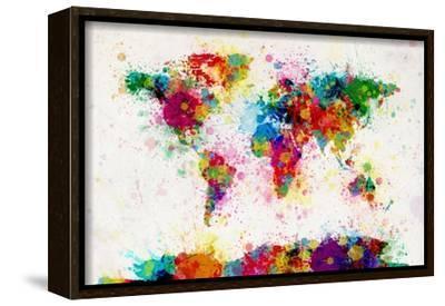 World Map Paint Splashes-Michael Tompsett-Framed Stretched Canvas Print