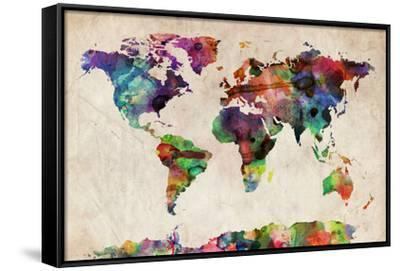 Urban Watercolor World Map.World Map Urban Watercolour Stretched Canvas Print By Michael