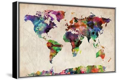 World Map Urban Watercolour-Michael Tompsett-Framed Stretched Canvas Print