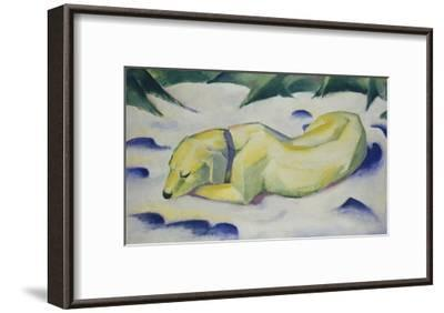 Dog Lying in the Snow, 1910/1911-Franz Marc-Framed Giclee Print