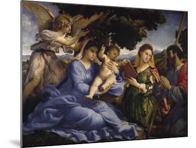 Maria Mit dem Kind Und Den Hll.Katharina Und James the Greater, um 1533-Lorenzo Lotto-Mounted Giclee Print