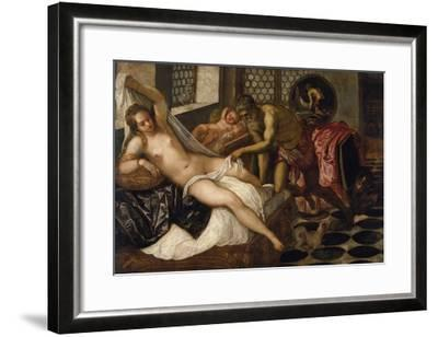 Mars and Venus Surprised by Vulcan-Jacopo Robusti Tintoretto-Framed Giclee Print
