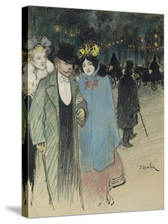After the Play, about 1900-Th?ophile Alexandre Steinlen-Stretched Canvas Print
