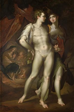 Bacchus and Ceres Leaving Venus, about 1590-Bartholomaeus Spranger-Stretched Canvas Print