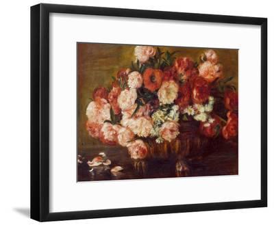 Still-Life with Peonies, 1872-Pierre-Auguste Renoir-Framed Premium Giclee Print