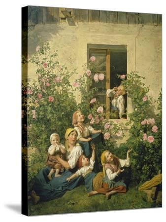 Children Blowing Bubbles, 1842-Ferdinand Georg Waldm?ller-Stretched Canvas Print