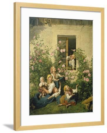 Children Blowing Bubbles, 1842-Ferdinand Georg Waldm?ller-Framed Giclee Print