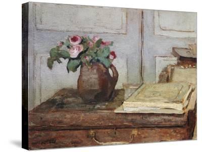 Stilleben Mit Dem Malkoffer Des Kuenstlers Und Einer Vase Mit Moosrosen--Stretched Canvas Print