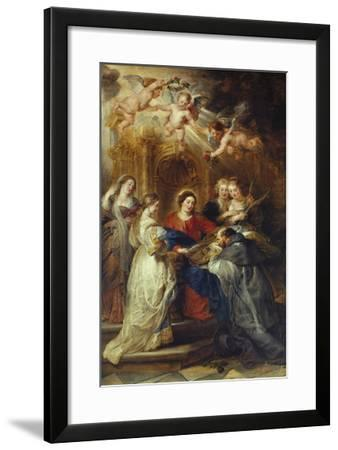 St. Ildefonso Altarpiece, Central Panel Depicting Virgin Mary Presenting a Liturgical Robe-Peter Paul Rubens-Framed Giclee Print