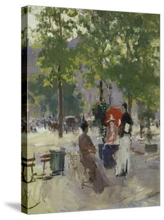 Pavement Café in Paris-Konstantin A^ Korovin-Stretched Canvas Print