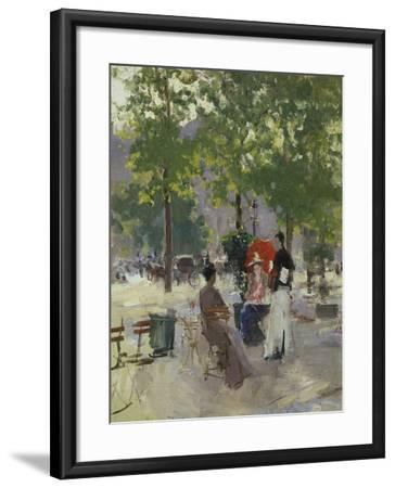 Pavement Café in Paris-Konstantin A^ Korovin-Framed Giclee Print