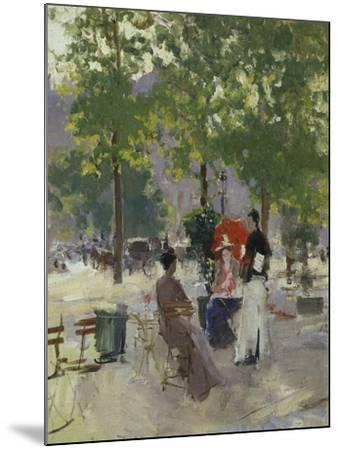 Pavement Café in Paris-Konstantin A^ Korovin-Mounted Giclee Print