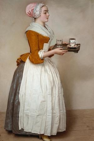 The Hot Chocolate Girl, about 1744/45-Jean-Etienne Liotard-Stretched Canvas Print