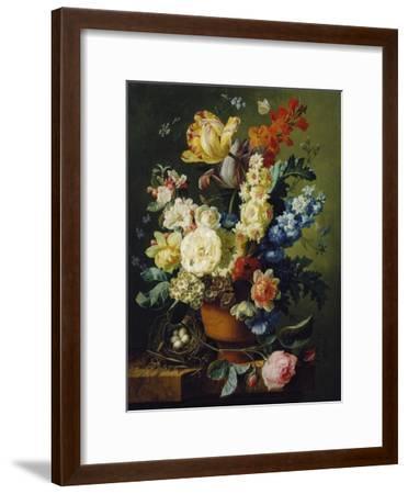 Flower Still Life with Bird's Nest, 1785-Paul Theodor van Brussel-Framed Giclee Print