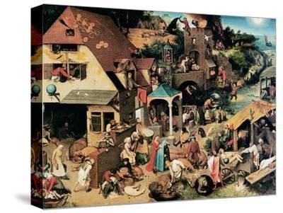 Netherlandish Proverbs, 1559-Pieter Bruegel the Elder-Stretched Canvas Print