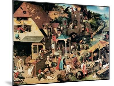 Netherlandish Proverbs, 1559-Pieter Bruegel the Elder-Mounted Giclee Print