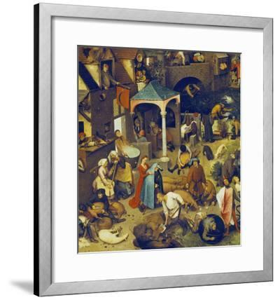 The Flemish Proverbs. (Detail of the Lower Centre)-Pieter Bruegel the Elder-Framed Giclee Print