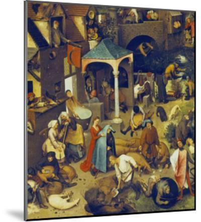 The Flemish Proverbs. (Detail of the Lower Centre)-Pieter Bruegel the Elder-Mounted Giclee Print