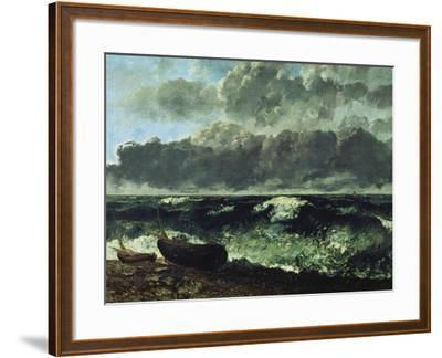 The Stormy Sea or the Wave, 1870-Gustave Courbet-Framed Giclee Print